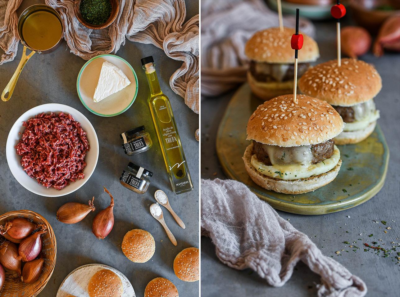 Receta:  Mini hamburguesas de trufa negra
