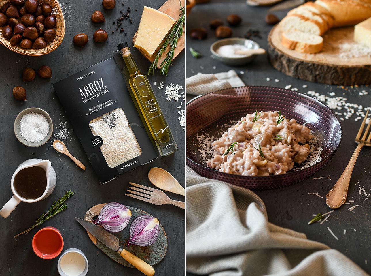 Recetta: risotto con castañas y trufa negra