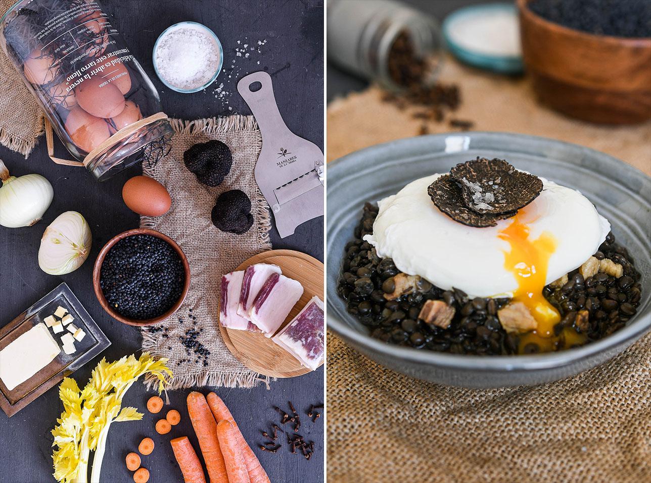 Lentejas beluga, huevo poché y trufa