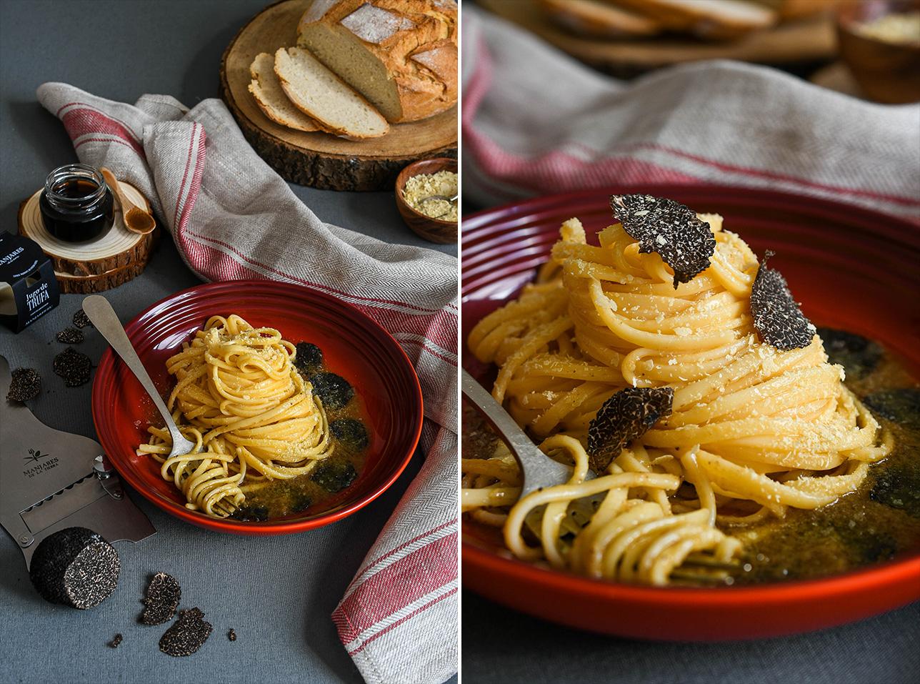 Fondue de trufa negra y espaguetis