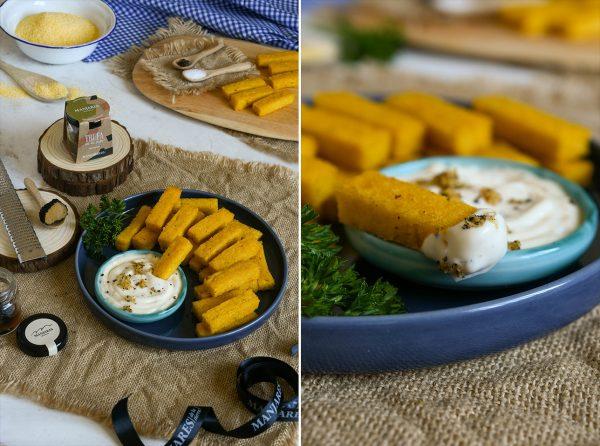 Crutones de polenta con mayonesa de trufa