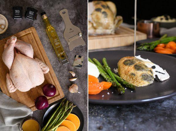 Pollo asado con piel de trufa