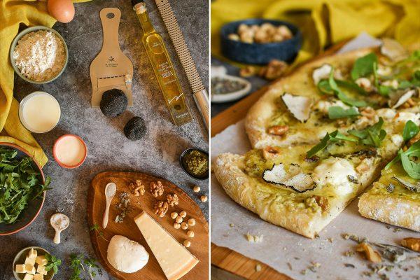 Pizza blanca de trufa de verano